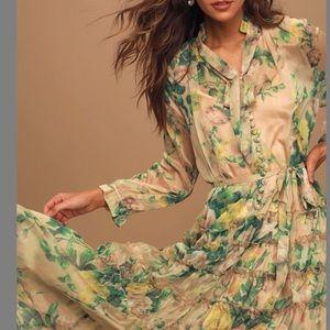 O.P.T. Cosmia Beige Floral Ruffled Tier Midi Dress